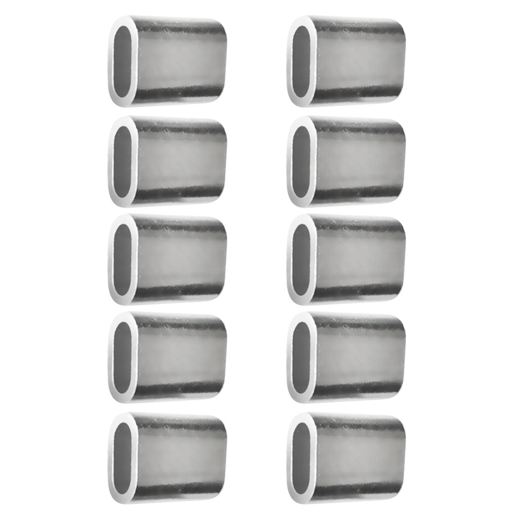 8mm 3mm-10mm Almencla 10Pcs Aluminium Ferrules Steel Wire Rope Crimping Sleeves Single Silver