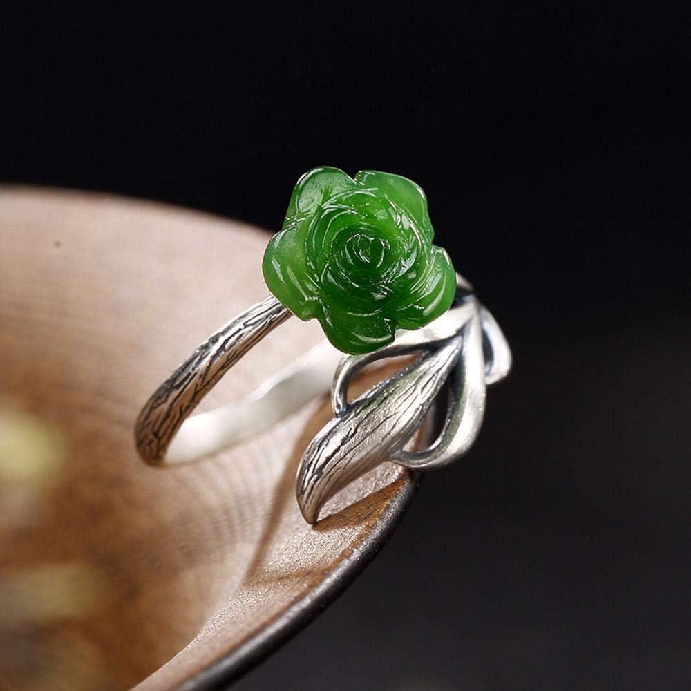 Lozse Femme Homme Bague R/églable S990 en Argent incrust/é de Fleur de Prunier Creux moelle Jade Lady Ring