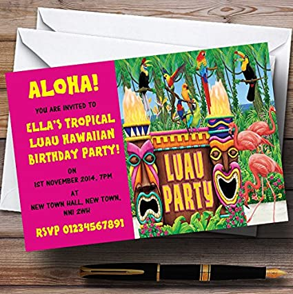 Rosa Hawaiano Tropical Luau personalizado invitaciones de ...