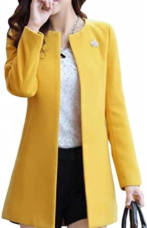 ONTBYB Womens Winter Faux Fur Collar Wool Blend Trench Pea Coat Cape Outwear