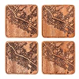 Honolulu Map Coaster by O3 Design Studio, Set Of 4, Sapele Wooden Coaster With City Map, Handmade
