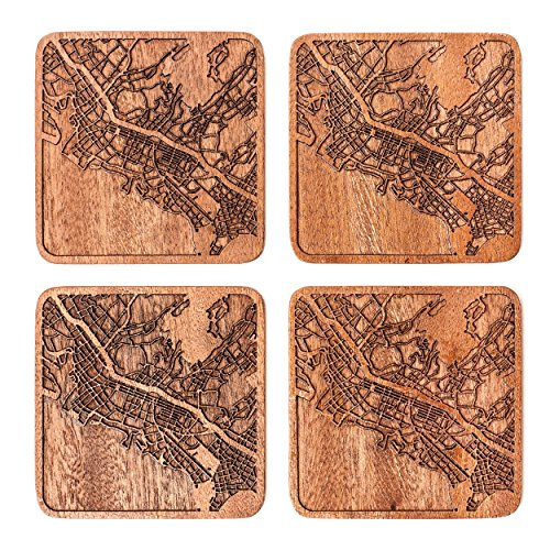 Honolulu Map Coaster by O3 Design Studio, Set Of 4, Sapele Wooden Coaster With City Map, Handmade -