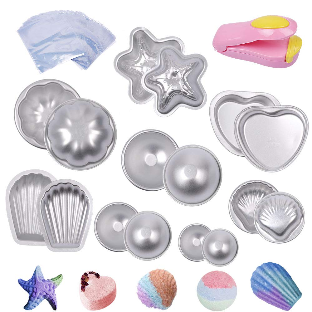 eZAKKA Metal Bath Bomb Molds Kit Bath Bomb Mould with 200 Shrink Wrap Bags and 1 Mini Heat Sealer for Bath Bombs Handmade Soaps, Cake, Fizzy Balls, 8 Sets 16 Pieces of Pack