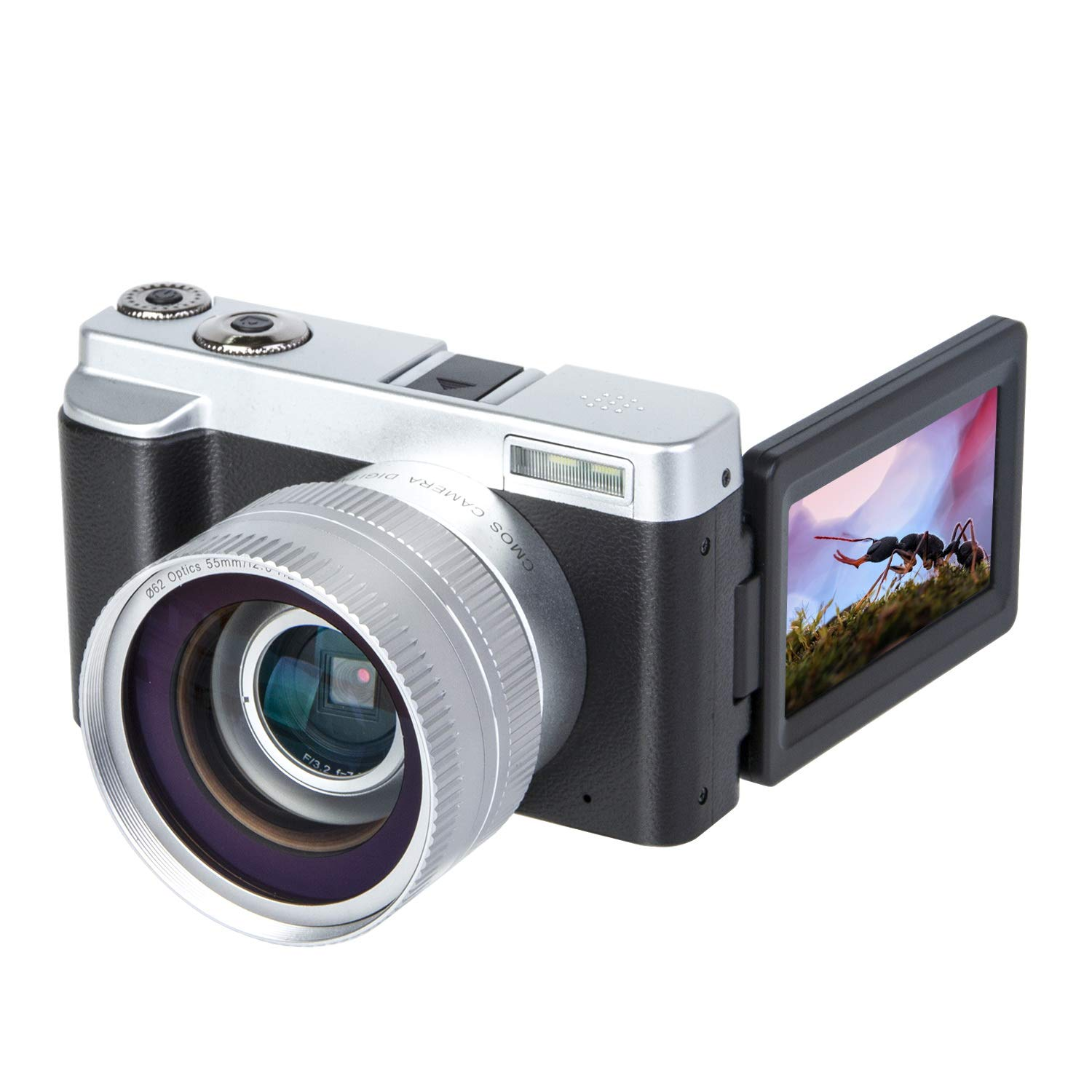 Digital Camera Video Camera Vlogging YouTube Recorder HD1080P 30FPS 24.0MP 3.0 Inch Flip Screen 16X Digital Zoom WiFi Camera with Wide Angle Lens and 2 Batteries