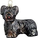 Skye Terrier Black Dog Polish Glass Christmas Ornament Made in Poland Decoration