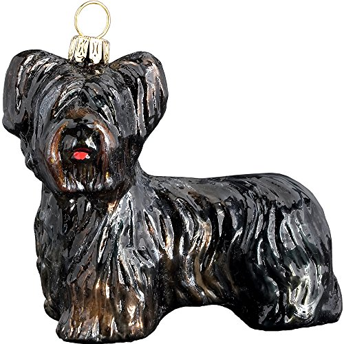 Skye Terrier Black Dog Polish Glass Christmas Ornament Made in Poland Decoration
