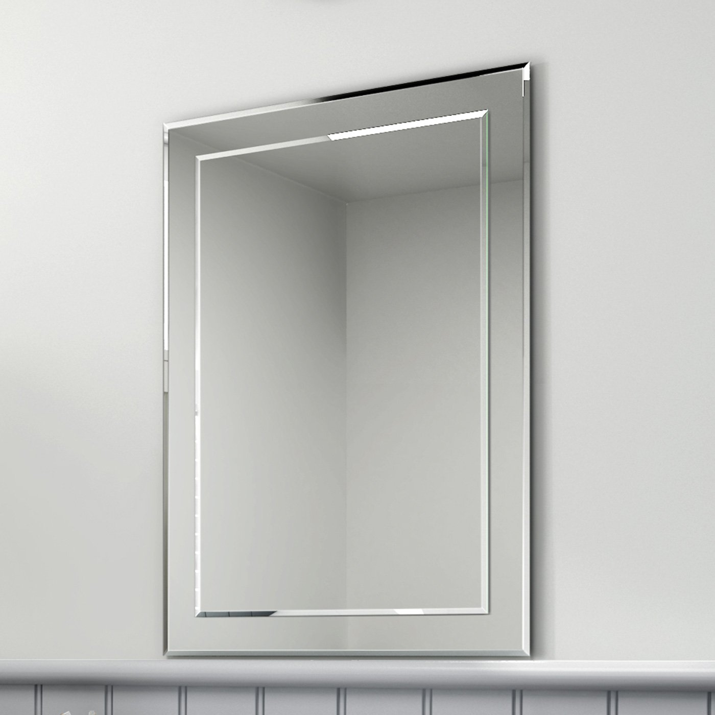 500 X 700 Mm Rectangular Bevelled Designer Bathroom Wall Mirror MC148