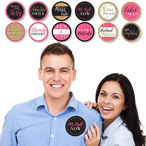 Girls Night Out - Bachelorette Party Man Hunt Stickers - Set of 12 by Big Dot of Happiness