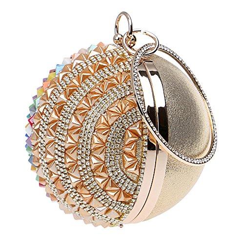 Gold Main De Rond Soirée à Coloré Sac Sac Diamant Pochette Sphérique Bracelet Dames SF7Aw