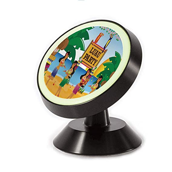 Car Dash Mounting Kits Car Electronics Accessories Magnetic Dashboard Cell Phone Car Mount Holder,Party in Cartoon Style Dancers on Beach Festive,can be Adjusted 360 Degrees to Rotate,Phone Holder Compatible All Smartphones