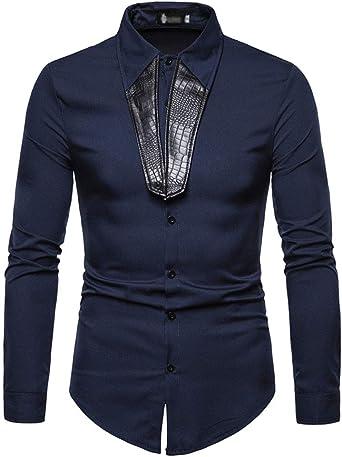 Camisas De Hombre Moda Negocios Basicas Blusas Camisas Manga Larga PU Cuero Splice De Solapa Irregular Camisas Hombres Abiertas Casual Blusa Top: Amazon.es: Ropa y accesorios
