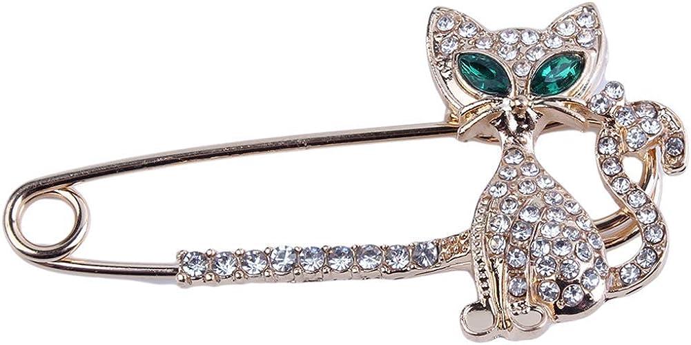 Ogquaton Mignon Chaton Dame Broche Accessoires de mari/ée /écharpe Cristal Broche Oeil de Chat Broche cr/éatif et utile