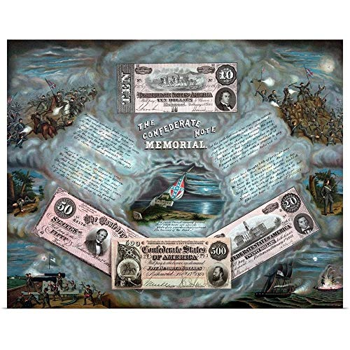 GREATBIGCANVAS Poster Print Entitled Vintage Civil War Print Showing Four reproductions of Confederate Currency Notes by John Parrot 20