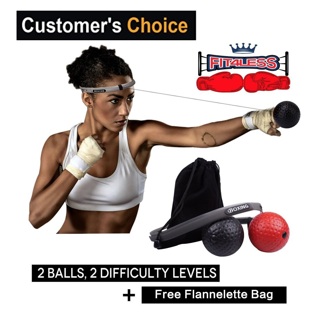 Premium Boxing Fight Reflex Ball, 2 Difficulty Levels with Headband, Great for Improving Speed, Accuracy and Hand Eye Coordination, Softer and Safer than Tennis Ball, See Fast Results.