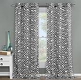 Duck River Textiles ANQBK=12/10791 2 Piece Anna Sheer Grommet Pair Panel, 51×84, Black For Sale