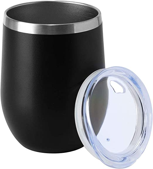 12OZ WINE TUMBLER WITH LID 2 PACK BEER CUP STAINLESS STEEL DOUBLE WALL BLACK