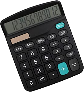 HEART SPEAKER 12-Digit Solar Powered Large Display Calculator for Home Office Desk Decor Accountant Tools Black