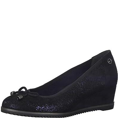 Tamaris 22303 21 890 FELIZITAS Navy Suede Womens Wedge Shoes