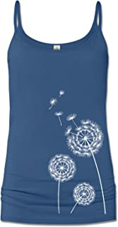 product image for Soul Flower Women's Organic Cotton Dandelion Cami Tank Top, Blue Long Graphic Yoga Camisole, Sleeveless Ladies Shirt