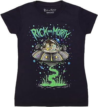 Rick e Morty Mens T-shirt Spazio Cruiser Spaceship cotone nero
