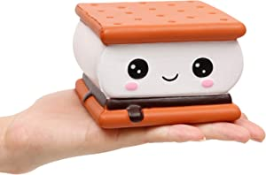 Anboor Squishies Smores Cake Chocolate Sandwich Biscuit Cookies Pizza Kawaii Soft Slow Rising Scented Food Bread Squishies Stress Relief Kid Toys