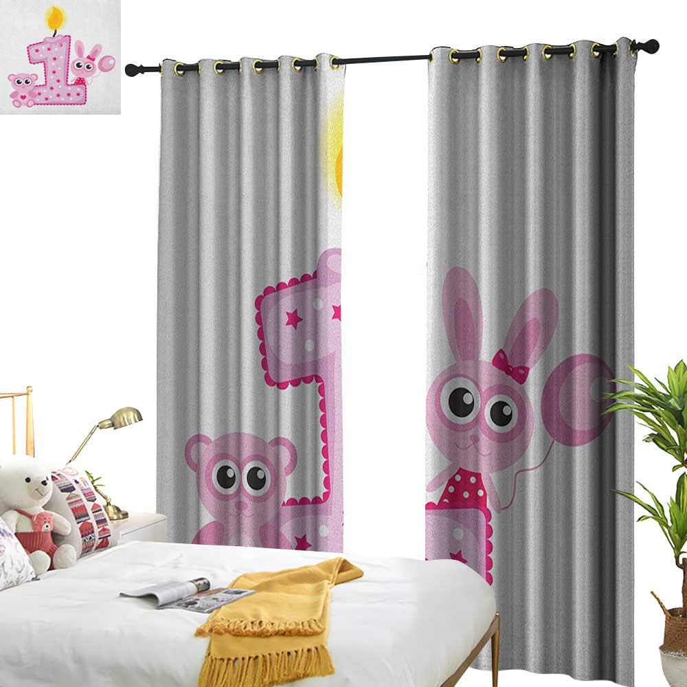 1st Birthday Drapes for Living Room Girls Party Theme with First Candle Bunny and Bear Animals Image W72 x L84,Suitable for Bedroom Living Room Study, etc. by Superlucky