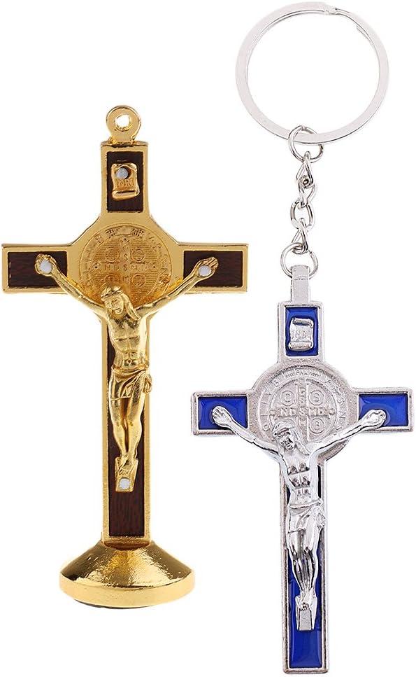 Argent Or Homyl 2pcs J/ésus Crucifix Croix Pendentif Statue en M/étal avec Porte-cl/és