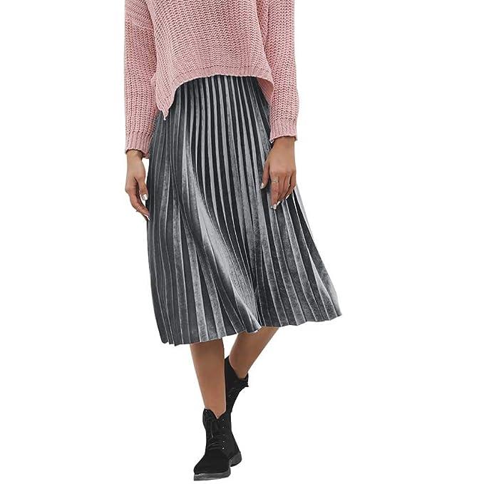 Rcool Falda Corta Faldas Faldas Mujer Invierno Faldas largas Falda Flamenca Mujer, Falda sólida Falda Plisada Informal de Cintura Alta: Amazon.es: Ropa y ...