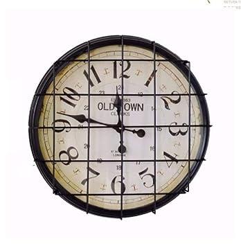 Reloj de pared de metal Redondo Digital Decorativo LOFT Silencioso Cuarzo puntual para la sala de ...