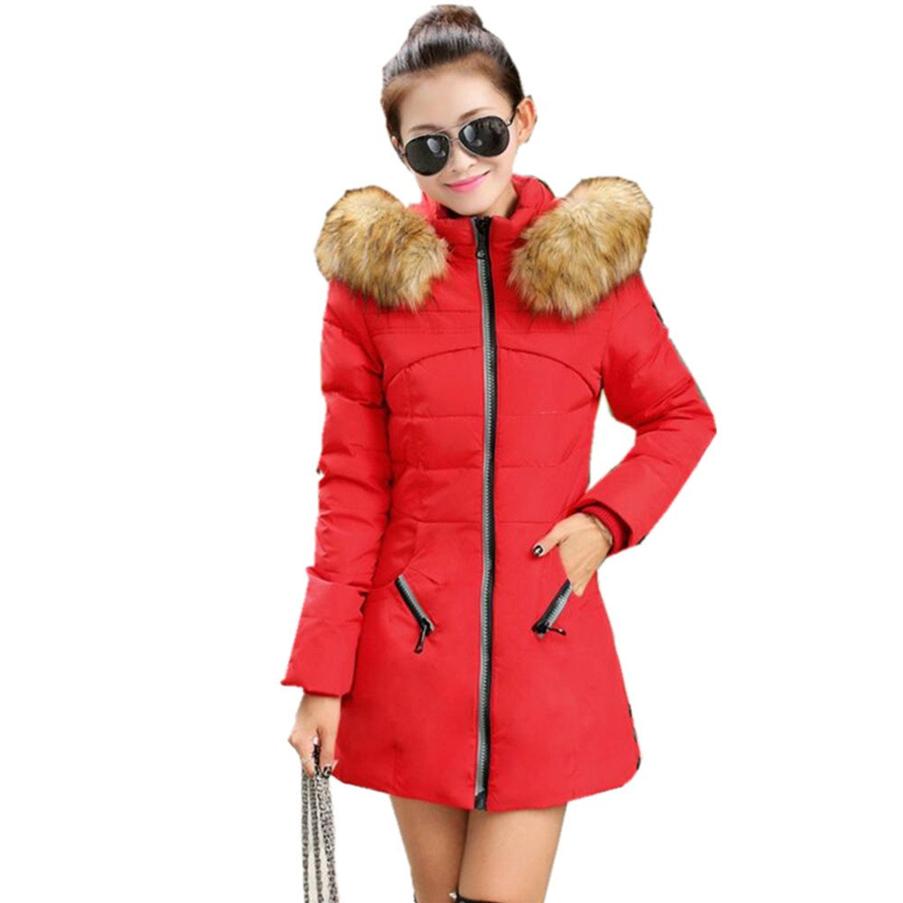 Newbestyle Women Winter Thicken Hooded Cotton Padded Parka Overcoat Long Jacket X171115CTC