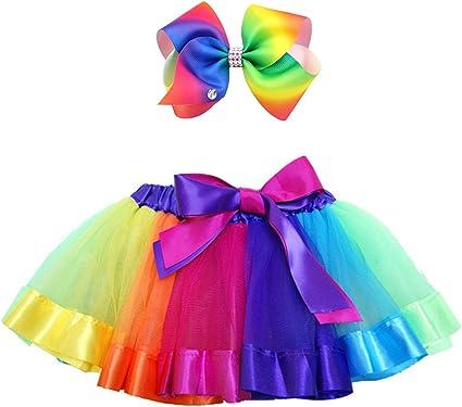 ALEAD Falda de tutú Arcoiris de Tul en Capas para niñas pequeñas ...