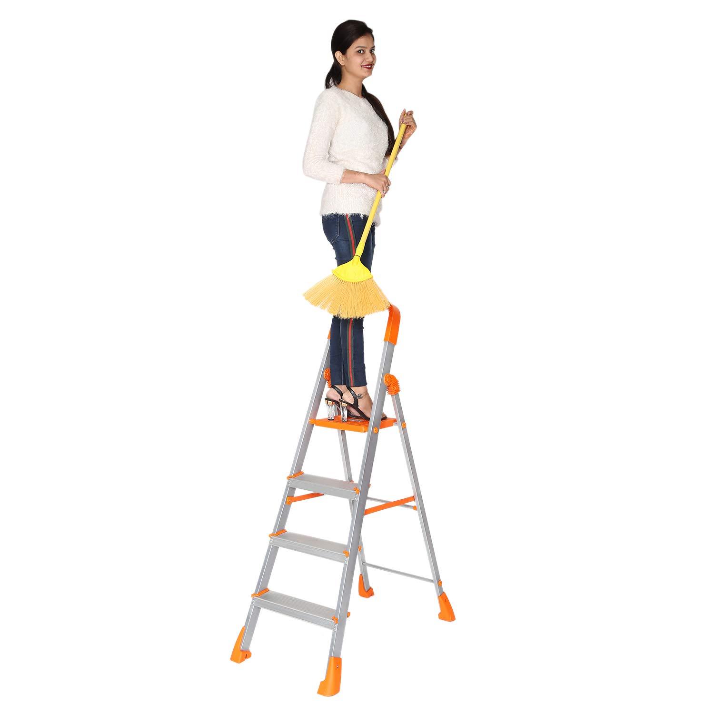 Happer Premium Foldable Aluminium Step Ladder, Clamber Pro, 4 Steps (Orange  Satin)
