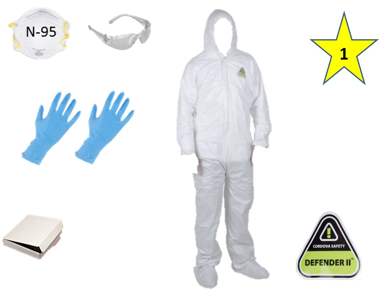 MP-400 ( XL)(One) CORDOVA DEFENDER II White Disposable Suit Microporous paint Coverall with Hood and Boots + 1 N-95 Mask + 1 Safety Glasses + 2 Gloves size L