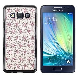 TopCaseStore / la caja del caucho duro de la cubierta de protección de la piel - Floral Red Pattern Vintage Wallpaper Pattern - Samsung Galaxy A3 SM-A300