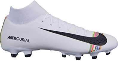 f9035d4bf Nike Men s Mercurial Superfly 6 CR7 Soccer Cleat White Black Pure Platinum  Size 7