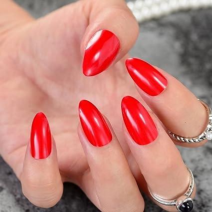 Juego de 24 piezas de uñas Stiletto de color rojo caramelo, acrílico de tamaño mediano