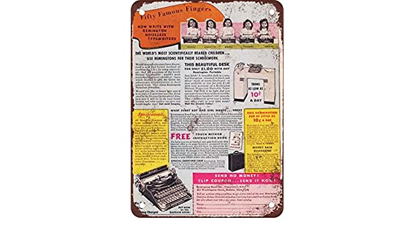 1940 Remington máquinas de escribir vintage look reproducción Metal Tin Sign 12 x 18 pulgadas: Amazon.es: Hogar