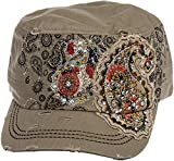Crystal Case Womens Cotton Rhinestone Paisley Cadet Cap Hat (Khaki)