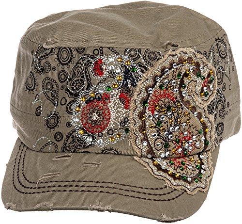 Cadet Cap Hat Baseball (Crystal Case Womens Cotton Rhinestone Paisley Cadet Cap Hat (Khaki))
