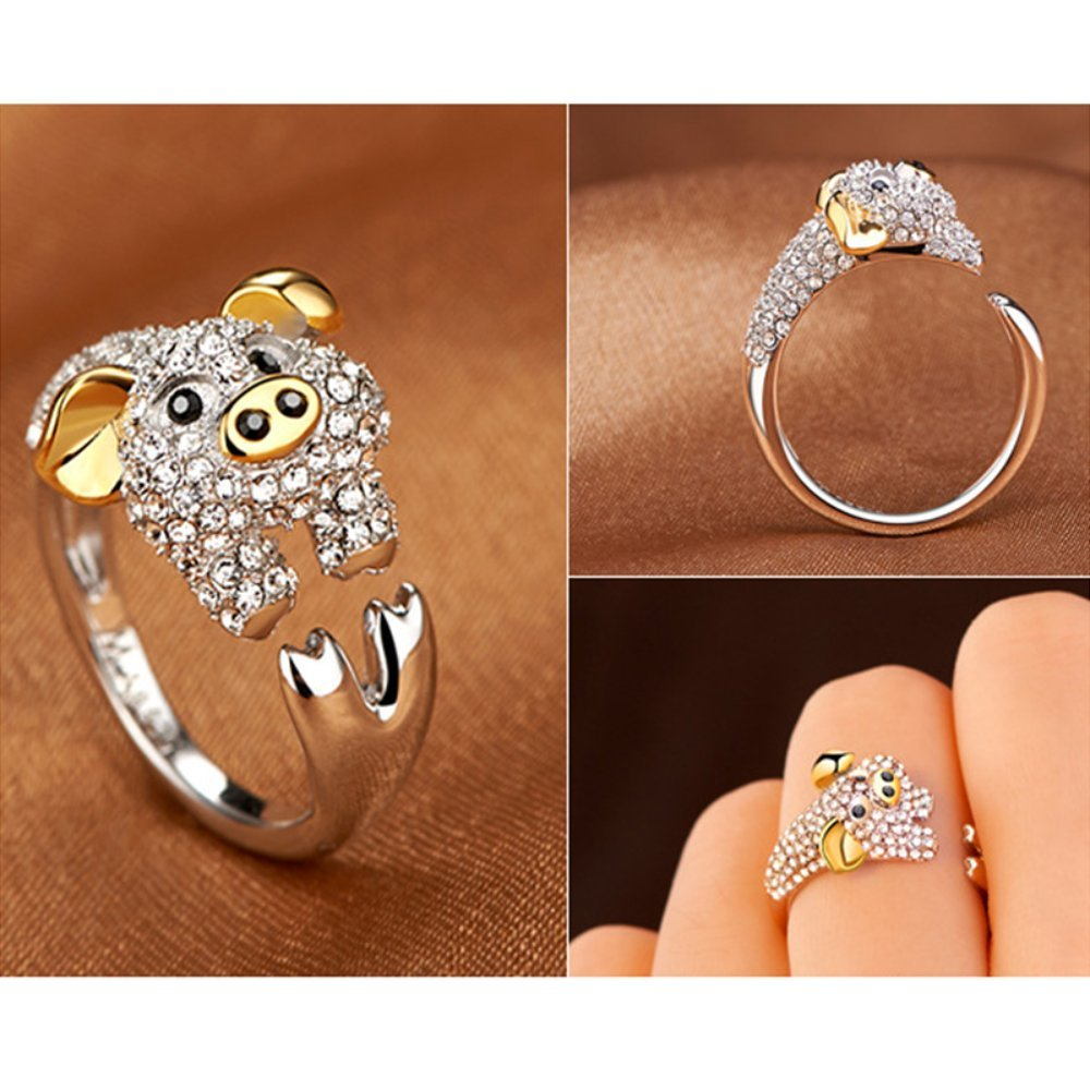 A.Yupha Fashion Cute Animal CZ Crystal Silver Lovely Jewelry Women Party Openings Ring (Pig)