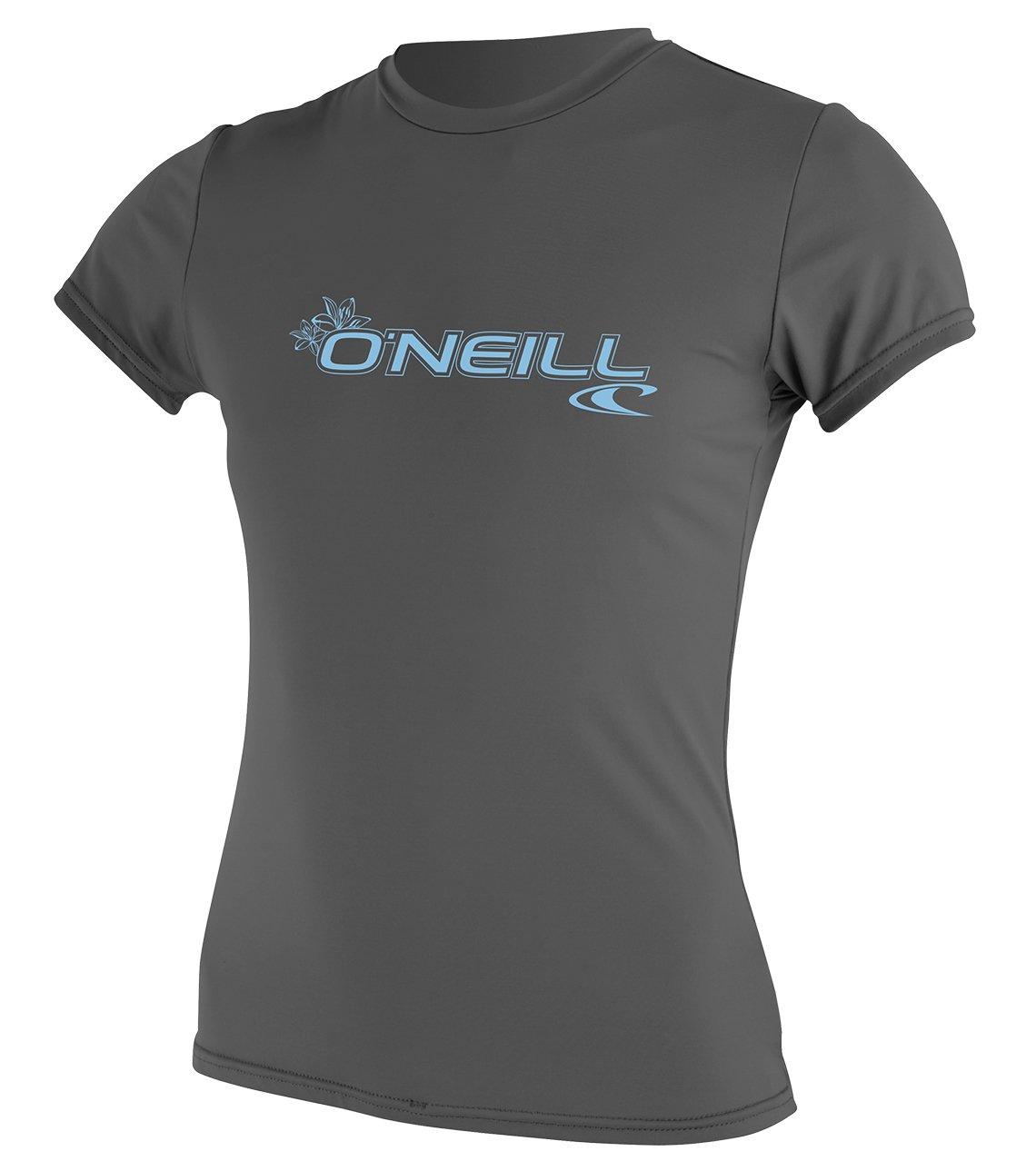 O'Neill Wetsuits Women's Basic Skins Upf 50+ Short Sleeve Sun Shirt, Graphite, X-Small