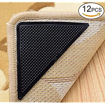 Rug Grippers Carpet Rubber Anti Skid Pad With Rug Double Sided Tape (12PCS ,