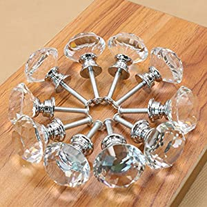 NORTHERN BROTHERS Drawer Knob Pull Handle Crystal Glass Diamond Shape Cabinet Drawer Pulls Cupboard Knobs with Screws for Home Office Cabinet Cupboard Bonus Silver Screws DIY (10 Pieces)