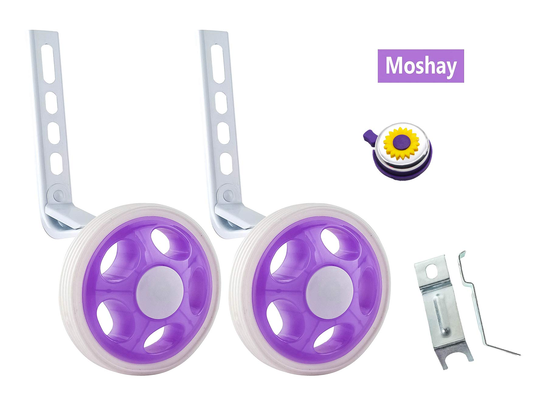 MOSHAY Training Wheels for Children's Bicycle stabiliser(for 14 16 18 20 inch Bike) (A-Purple)