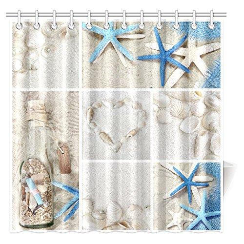(InterestPrint Collage of Summer Seashells Decor Shower Curtain, Seacoast with Sand Colorful Various Seashells and Starfish Tropics Aquatic Wildlife Theme Fabric Bathroom Set with Hooks, 72 X 72 Inches)