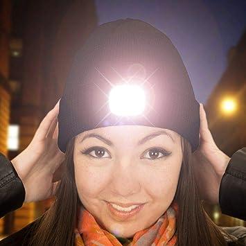 MENGZHEN 1PC Tricot Hiver LED Bonnet de Bonnet de Lampe de Poche de lumi/ère Flash pour Le Camping en Cours de p/êche de randonn/ée ou dactivit/és en Plein air