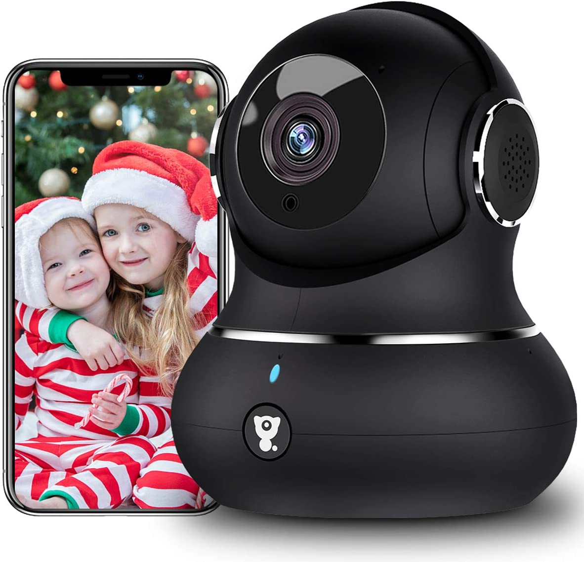[Updated Version] Indoor Home Security Camera, Littlelf 1080p 2.4G WiFi Camera with Smart Motion Tracking Detection, 2-Way Audio, Night Vision and Cloud Service, Compatible with Alexa (Black)