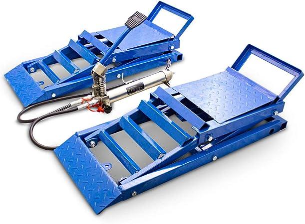 Bituxx 2 Stück Hydraulik Auto Pkw Kfz Auffahrrampen Set Mit Wagenheber Hydraulisch Höhenverstellbar Wartungsrampe Hebebühne Rampe Auffahrrampe Auffahrbock Auto