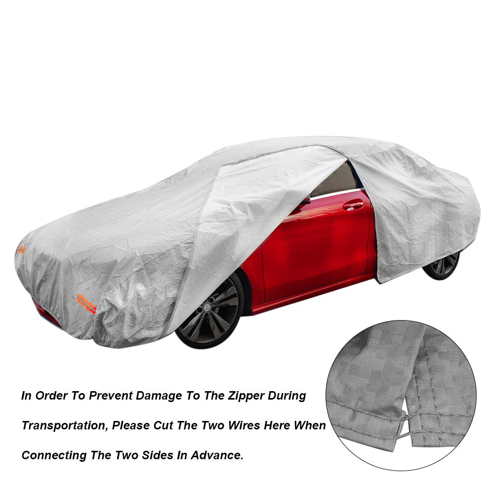 190 Touch rich Multi-Layer Car Cover Waterproof All Weather Outdoor Rain Sunscreen UV Protection with Zipper Cotton Windproof Belt for Cars