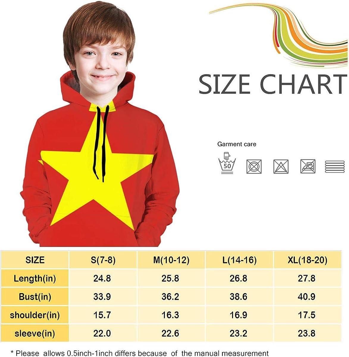 MAOYI/&J6 Vietnam Flag Youth Boys Girls Long Sleeve Hoodie Outerwear for Winter Sweatshirt